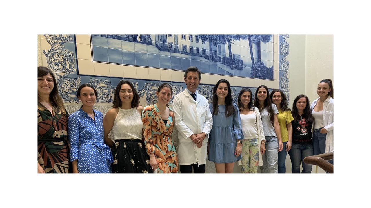 Estudantes da Pós-graduação em Ortodontia com Francisco do Vale, Paula Bebiano, Inês Francisco e  Adriana Guimarães