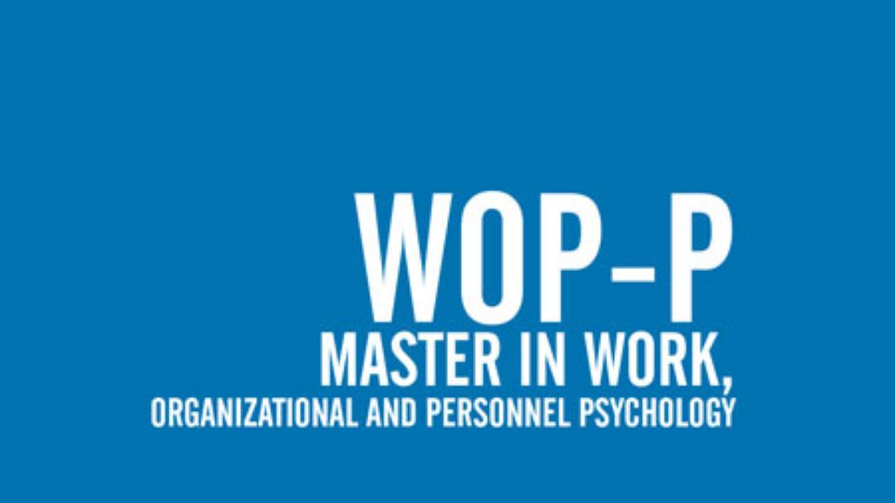 Mestrado em Psicologia do Trabalho, das Organizações e dos Recursos Humanos Erasmus Mundus Joint Master Degree in Work, Organizational and Personnel Psychology (WOP-P) Erasmus+: Erasmus Mundus