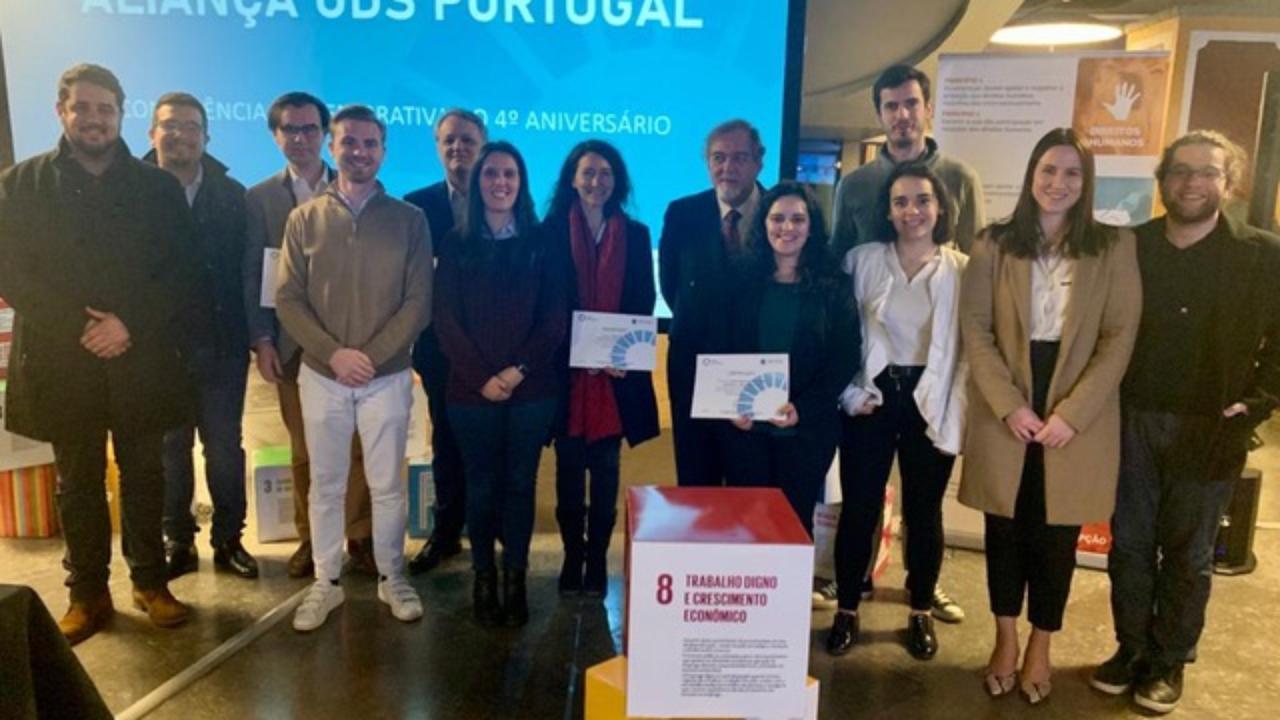 Comitiva da UC durante o evento do 4º aniversário da Aliança ODS Portugal.
