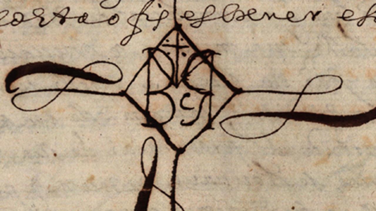 Autenticação do traslado do Alvará de nomeação do superintendente das obras do novo Convento, feita em 21 de agosto de 1654, por Manuel Rodrigues da Costa, tabelião de Coimbra. Letras monogramáticas inseridas no seu sinal de tabelião.