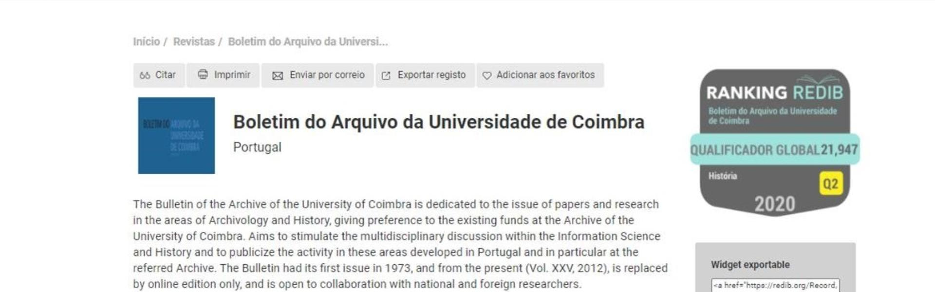 O Boletim do Arquivo da Universidade de Coimbra (BAUC) está acessível na Redib
